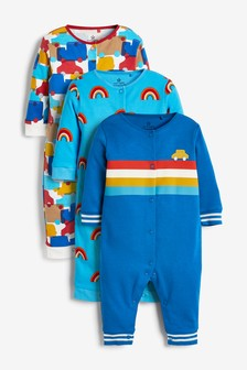 Blue 3 Pack Retro Car Footless Sleepsuits (0mths-3yrs)