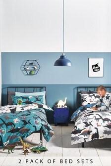 Blue 2 Pack Rainbow Dino Reversible Duvet Cover and Pillowcase Set