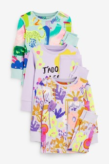 Lilac/Teal 3 Pack Floral/Character Cotton Snuggle Pyjamas (9mths-8yrs)