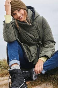 Khaki Quilted Reversible Coat