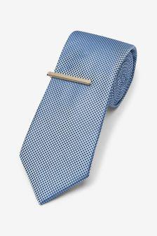 Dusky Blue Textured Tie With Tie Clip