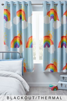 Blue Pom Pom Trim Rainbow Eyelet Blackout Curtains