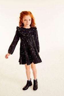 Black Star Embroidered Denim Dress (3-16yrs)