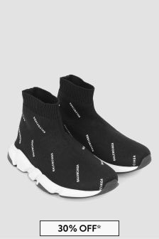 Balenciaga Kids Black Logo Print Speed Trainers