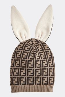 Fendi Kids Baby Brown Cotton And Cashmere Bunny Hat