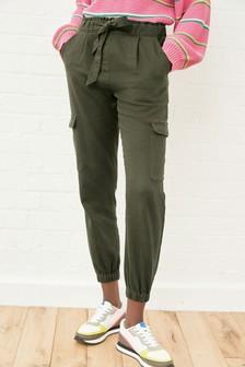Khaki Utility Cuffed Twill Trousers
