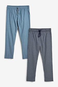 Navy/Grey Lightweight Woven Pyjamas 2 Pack