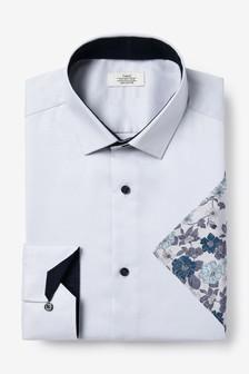 Grey Cotton Shirt And Floral Pocket Square Set