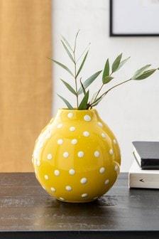 Yellow Yellow Small Polka Dot Ceramic Vase