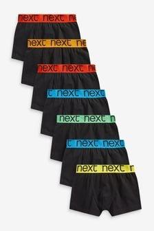 Black/Multi Waistband 7 Pack Trunks (2-16yrs)