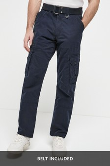 Navy Belted Tech Cargo Trousers