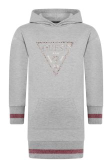 Guess Girls Grey Cotton Hooded Sweater Dress