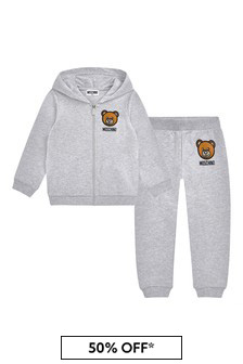 Moschino Kids Baby Grey Cotton Tracksuit