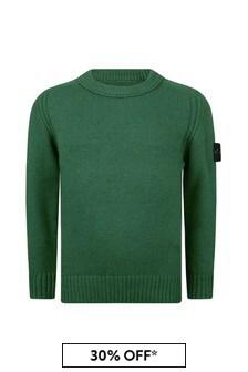 Stone Island Junior Boys Green Knitted Jumper