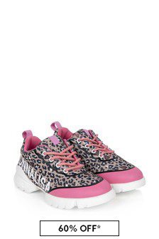 Monnalisa Girls Leopard Print And Pink Logo Trainers