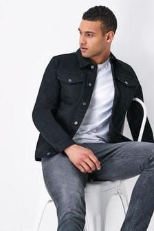Black Denim Jacket With Stretch