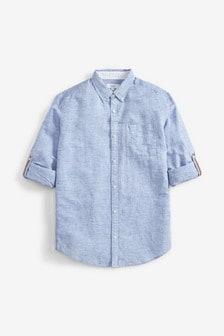 Blue Linen Blend Roll Sleeve Shirt