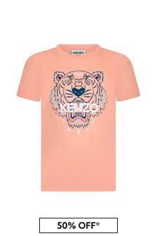 Kenzo Kids Girls Pink Cotton T-Shirt