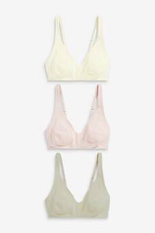 Pink/Sage/Cream Daisy Non Pad Non Wire Cotton Rich Bralettes Three Pack