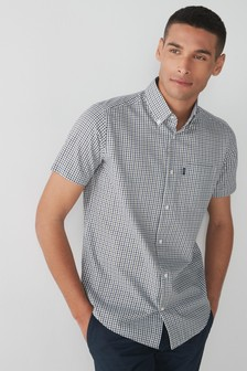 Olive/Navy Gingham Easy Iron Button Down Oxford Shirt