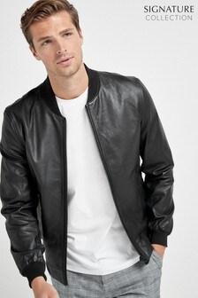 Black Signature Leather Bomber Jacket