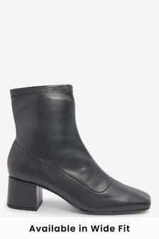 Black Block Heel Sock Boots