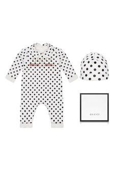 GUCCI Kids Baby White Cotton Polka Dots Vintage Logo Babygrow And Hat Gift Set