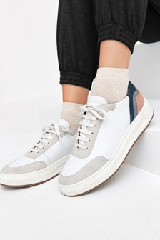 White/Pink Signature Leather Back Detail Trainers