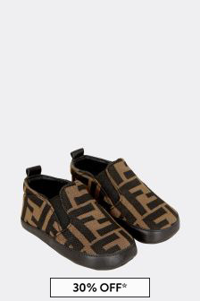 Fendi Kids Baby Boys Brown Shoes