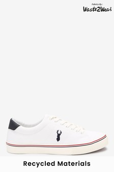 White Waste2Wear Recycled Canvas Stag Trainers