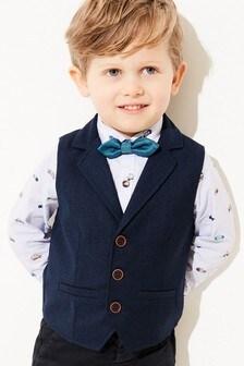 Navy Lapel Waistcoat, Shirt And Bow Tie Set (3mths-7yrs)