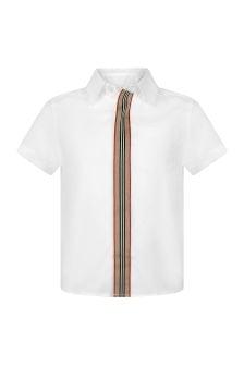Burberry Kids Boys White Cotton Short Sleeve Shirt