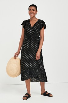Black Lurex Wrap Dress