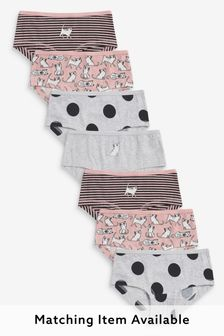 Pink/Grey 7 Pack Cat Character Hipster Briefs (2-16yrs)