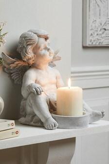 Grey Cherub Pillar Candle Holder