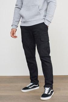Black Cotton Stretch Cargo Trousers