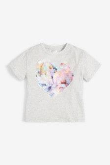 Grey Tie Dye Sequin Heart T-Shirt (3-16yrs)