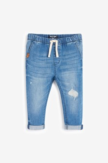 Denim Blue Super Soft Pull-On Jeans With Stretch (3mths-7yrs)