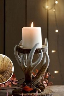 Natural Antler Pillar Candle Holder