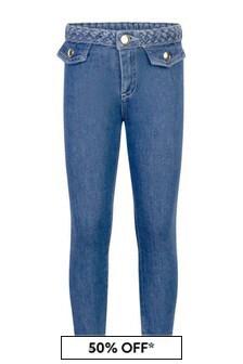 Chloe Kids Girls Blue Cotton Denim Jeans