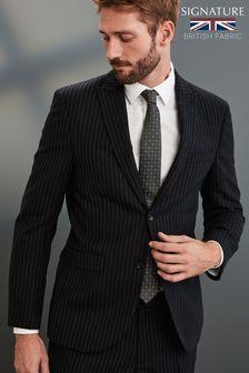 Black Stripe Signature Empire Mills Fabric Suit: Jacket