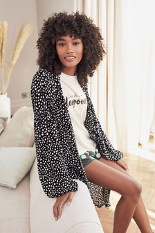 Black With White Spots Lightweight Robe