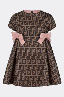 Fendi Kids Girls Brown/Pink Neoprene Logo Dress