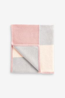 Pink Knitted Patch Blanket (Newborn)
