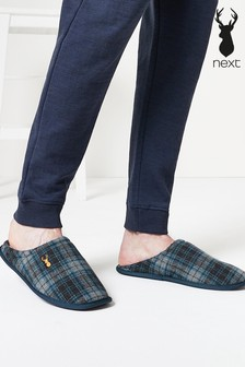 Navy Check Mule Slippers