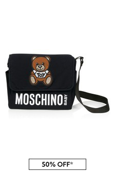 Moschino Kids Black Cotton Changing Bag