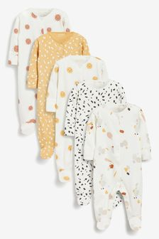 Ochre/Cream 5 Pack Cotton Abstract Sleepsuits (0mths-2yrs)
