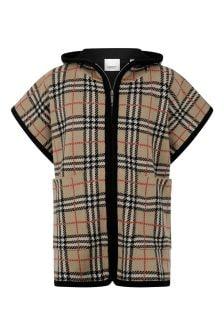 Burberry Kids Girls Beige Vintage Check Wool Poncho