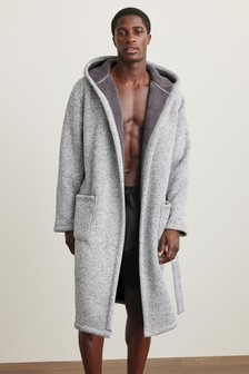 Grey Knit Fleece Lined Dressing Gown