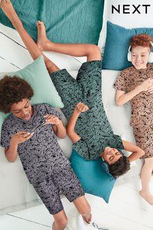 Pink/Teal/Grey Splat 3 Pack Short Pyjamas (3-16yrs)